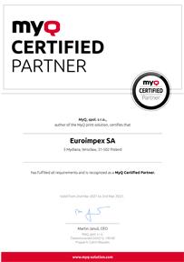 Certyfikat MyQ Partner